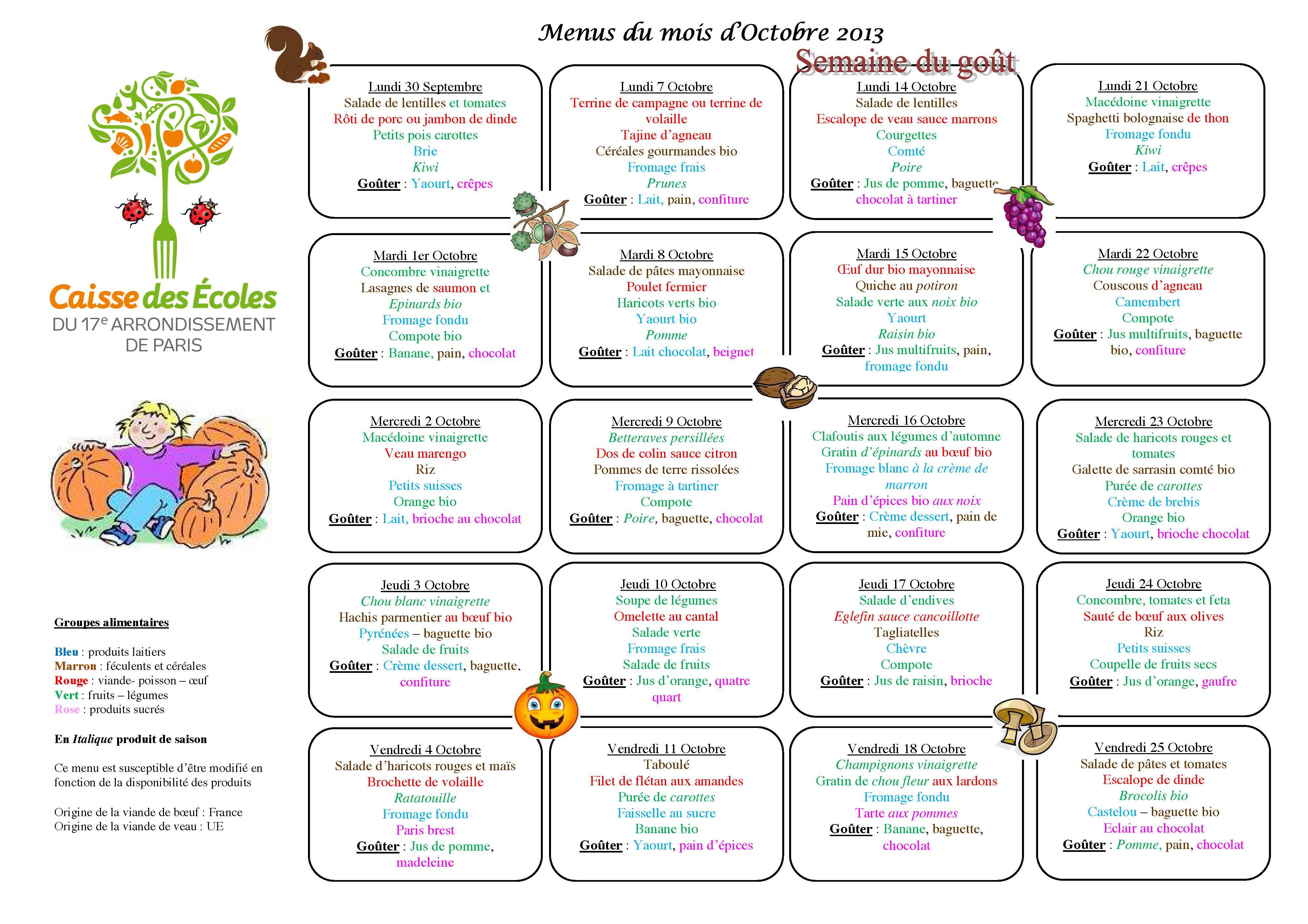 Menu Mensuel Octobre 2013 Mat